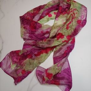 VINTAGE sheer silky watercolor scarf (silk?)